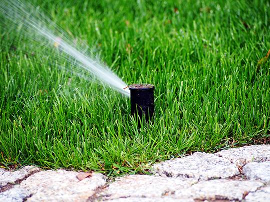 Photo of sprinkler spraying lawn